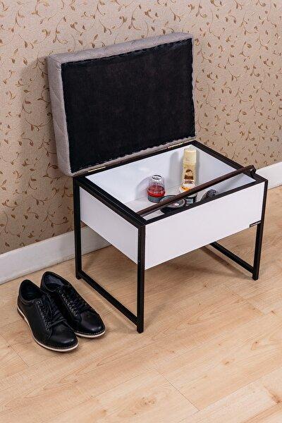 Metal Ahşap Puf Oturaklı Ayakkabılık Puflu Sandıklı Ayakkabı Dolabı Çok Amaçlı Ayakkabılık
