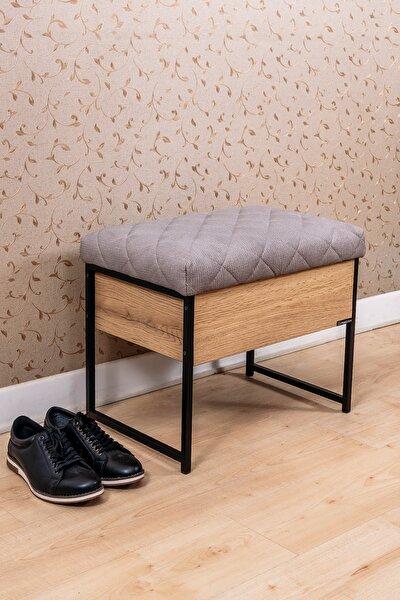 Sandıklı Puf Oturaklı Ayakkabılık Metal Ayaklı Çok Amaçlı Ahşap Puf Ayakkabı Boya Fırça Kutusu
