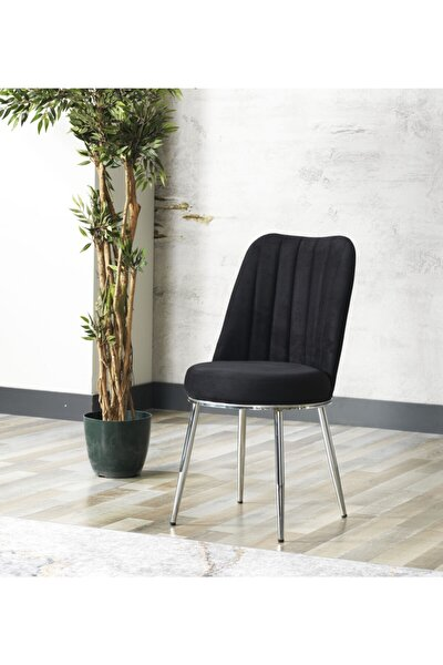 Zeyra Krom Ayaklı Siyah Renk Mutfak Sandalyesi-yemek Masası Sandalyesi