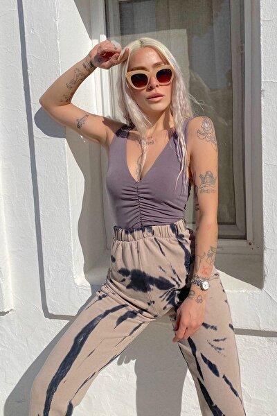 Kadın Vizon Drapeli V Yaka Body Suit Bluz 15101