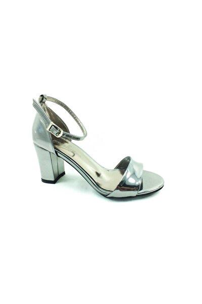 Tek Bantlı Topuklu Kadın Ayakkabı 61 08 Platin-ayna