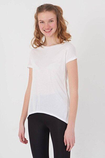 Kadın Beyaz Bisiklet Yaka T-Shirt P0375 - S10 Adx-00012501