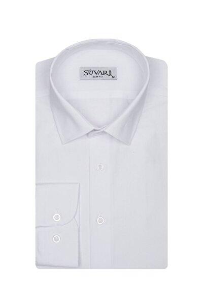 Slim Fit Beyaz Erkek Düz Gömlek