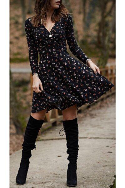 Kadın Siyah Çiçek Desenli Creep Kruvaze Elbise Crp01001