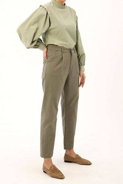 Olive Pileli Mom Pantolon