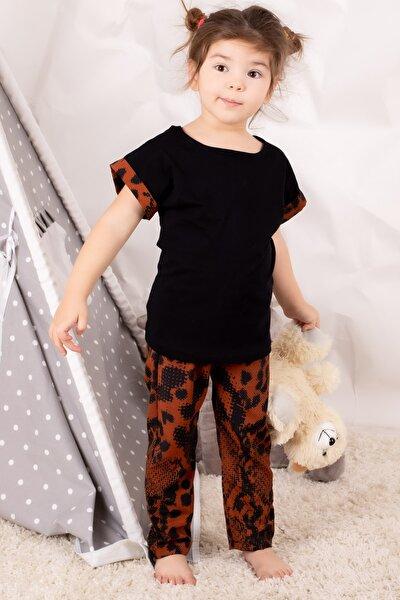 Kız Çocuk Taba Çocuk Yılan Derili Pijama Takımı ARM-21K001175