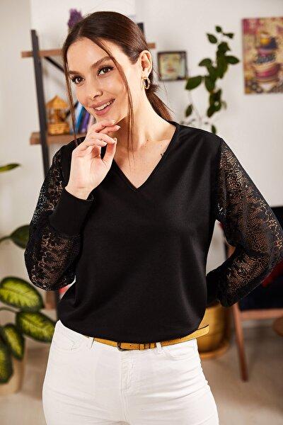 Kadın Siyah V Yaka Kolu Tüllü Bluz ARM-21K001180