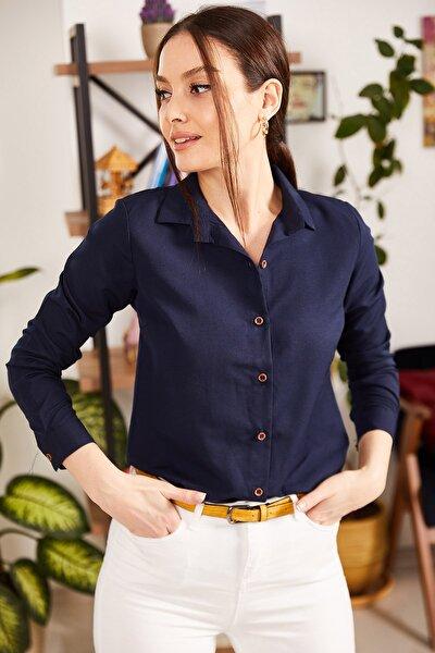 Kadın Lacivert Uzun Kollu Düz Gömlek ARM-18Y001176