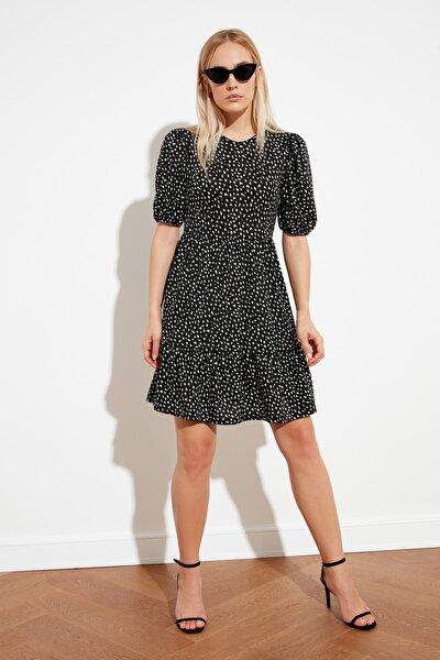 Siyah Desenli Örme Elbise TWOSS21EL1055