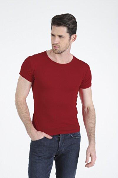 Erkek Kırmızı Basic Slim Fit Kısa Kollu T-Shirt