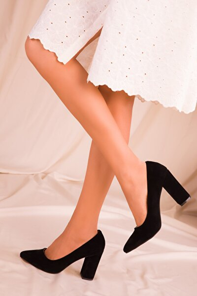 Siyah Süet Kadın Klasik Topuklu Ayakkabı 15313