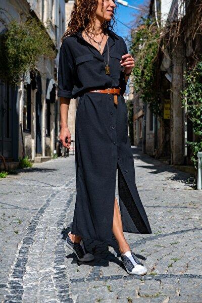 Kadın Siyah Özel Dokulu Çift Cep Yırtmaçlı Gömlek Elbise GK-TDURM100