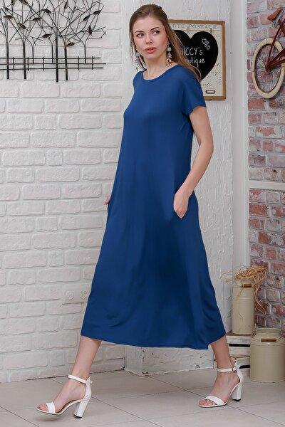 Kadın Mavi Sıfır Yaka Kısa Kollu Gizli Cepli Salaş Elbise M10160000EL95531
