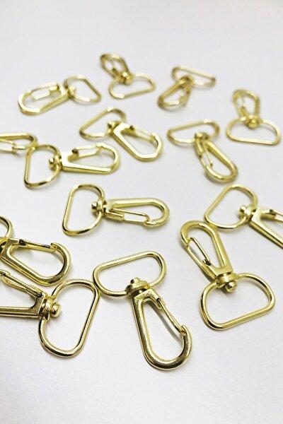 10 Adet Telli Kanca 2cm Gold Renk - Makrome Anahtarlık