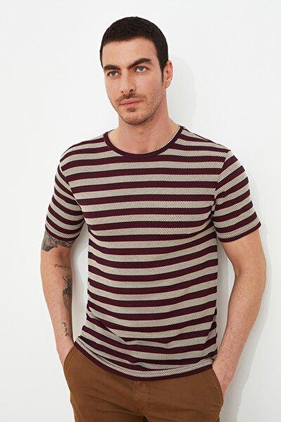 Bordo Erkek Slim Fit Bisiklet Yaka Kısa Kollu T-Shirt TMNSS21TS1568