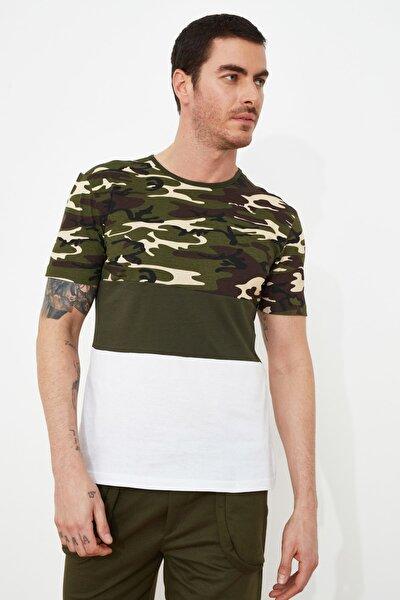 Haki Erkek Slim Fit Panelli Bisiklet Yaka T-Shirt TMNSS21TS1085