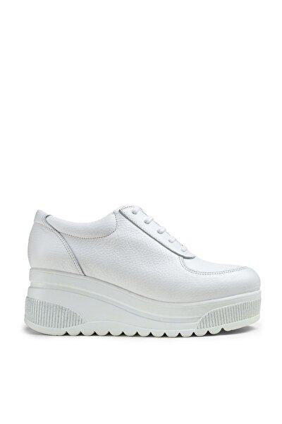 Kadın Beyaz Hakiki Deri Sneaker Ayakkabı
