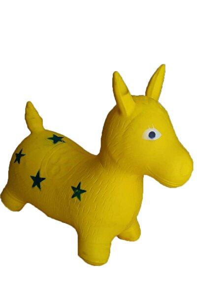 Sarı Şişme Eşek (28 X 32 Cm) Geyik Kuzu Zıp Zıp Hayvan At Çocuk Bebek Oyuncak