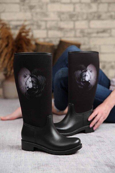 Kadın Siyah İki Kafadar Aslanlı Yağmur Çizmesi