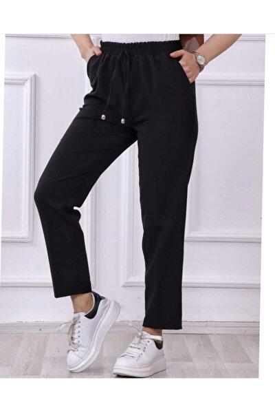 Kadın Siyah Beli Lastikli Kumaş Pantolon