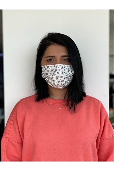Desenli Baskılı Maske, 3katlı