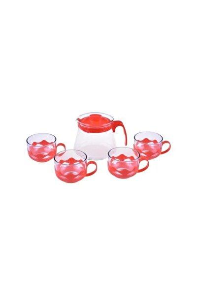 Taşev Guardo 5 Parça Çay Seti Kırmızı 600ml