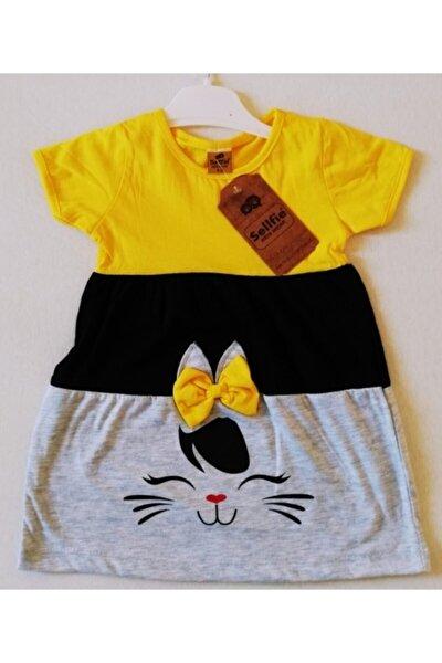 Kedi Ve Fiyonklu Kız Çocuk Elbise