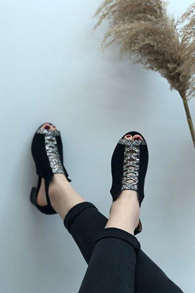 Kadın Sİyah Havana Süet Topuklu Sandalet