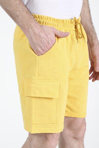 Erkek Sarı Cepli Kısa Şort