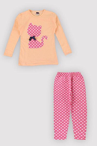 4 Mevsim Kız Çocuk Likralı Karışık Renk-nakış Puanlı Taytlı Takım 12343