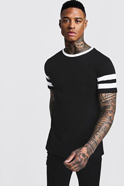 Siyah & Beyaz Bisiklet Yaka Yaka & Kol Garnili T-shirt 1kxe1-44752-86
