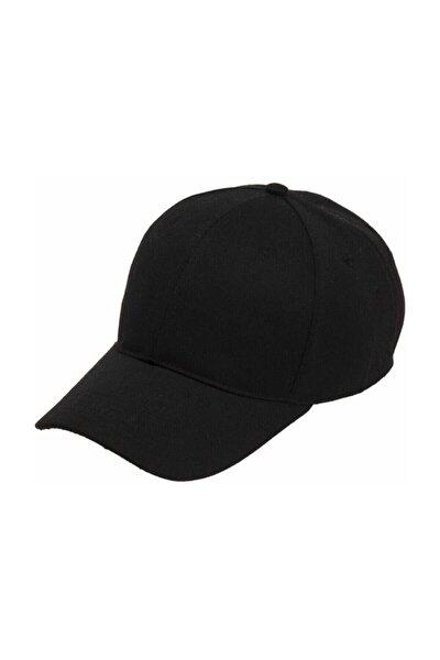 Unisex Siyah Kep Arkası Cırtlı Ayarlanabilir Şapka