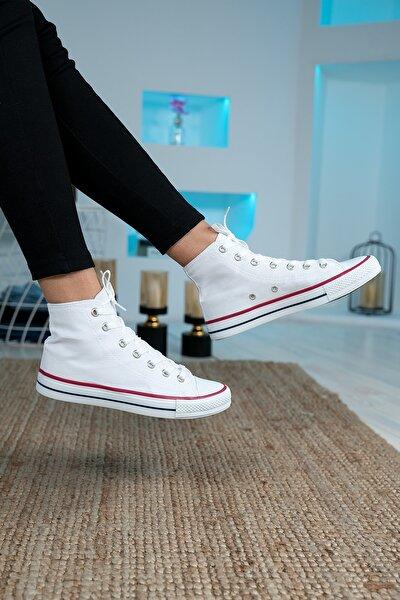 Unisex Beyaz Bilekli Keten Spor Ayakkabı