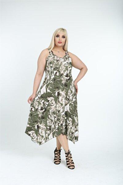 Kadın Şık Yazlık Uzun Askılı Desenli Viskon Büyük Beden Elbise