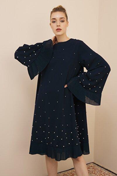 Lacivert Taş Işlemeli Tunik Elbise