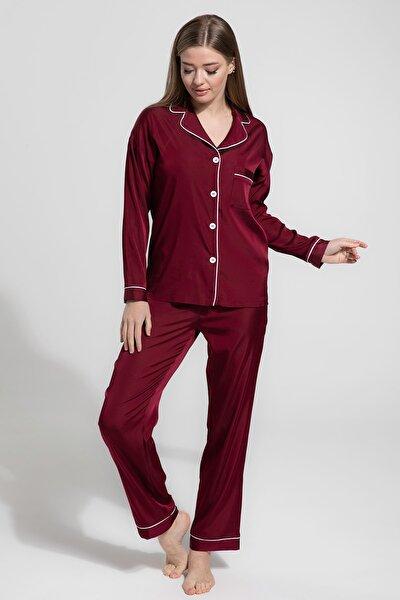 Kadın Bordo Saten Biyeli Uzun Pijama Takımı