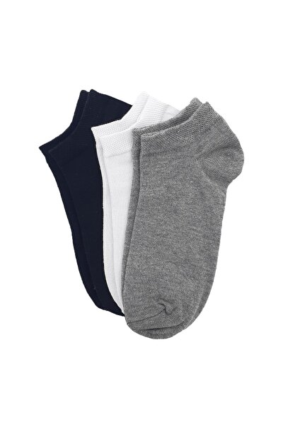 Gri/beyaz/siyah 3' Lü Patik Çorap No:8
