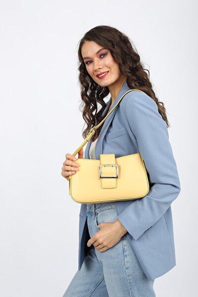 Aynı Butikte 2. Ürün 1 TL Sarı Kadın Kemerli Baguette Omuz Çantası