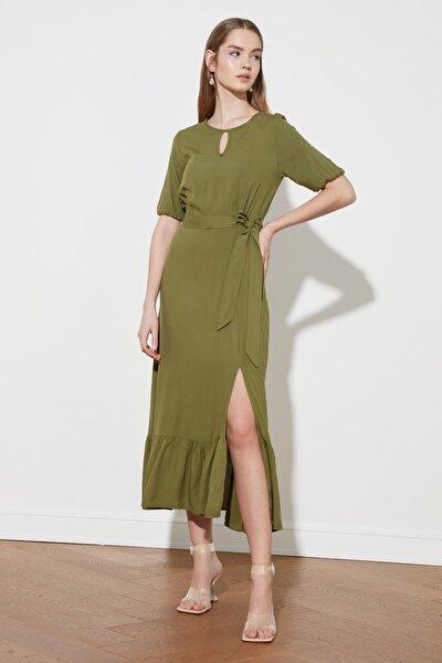 Koyu Haki Kuşaklı Elbise TWOSS19XM0064