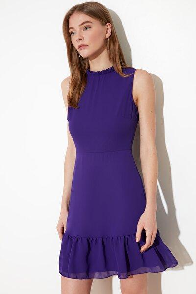 Mor Fırfırlı Elbise TWOSS20EL0237
