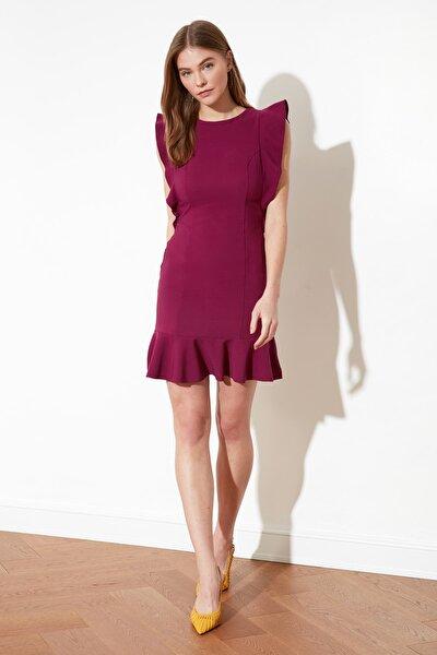 Mor Fırfır Detaylı Elbise TWOSS19XB0075