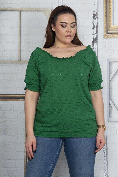 Kadın Yeşil Yaka Kol Ve Etek Ucu Lastik Detaylı Bluz 65N22890