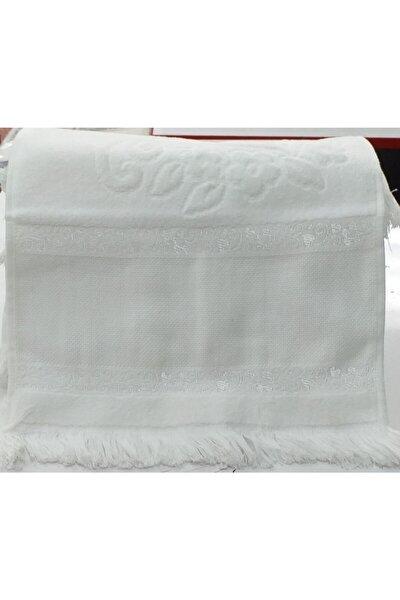 Mutfak Havlusu Etamin Bezli Kadife Boyama Beyaz Saçaklı 30x50