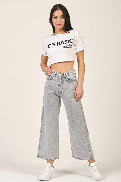 Kadın Gri Renk Wide Kalıp Yüksek Bel Jeans