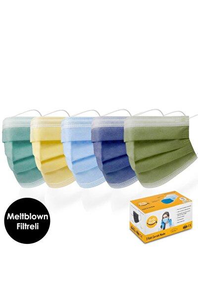Meltblown Yeşil Sarı Mavi Lacivert Haki Karışık Renkli Cerrahi Maske Seti 50'li ( 5 X 10 Renk )