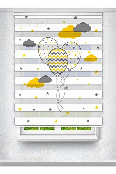 Uçan Balon Ve Bulut Baskılı Çocuk Odası Perdesi - Baskılı Zebra Perde