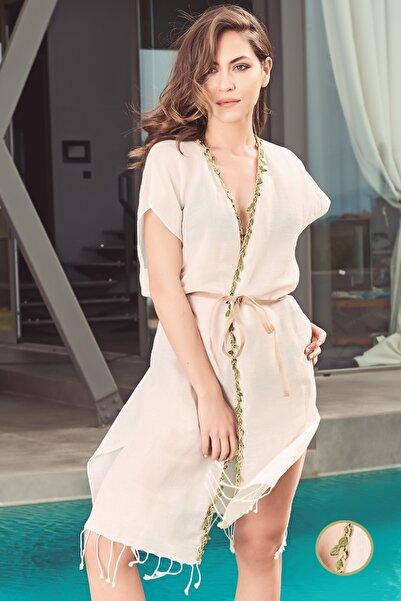 Kadın Yaprak Biyeli Keten-pamuk Kimono Pareo