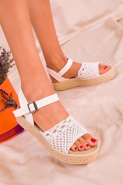 Beyaz Kadın Sandalet 16042