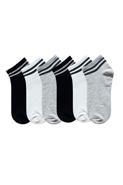 6'lı Çizgili Kolej Unisex Siyah Gri Beyaz Çorap U0011