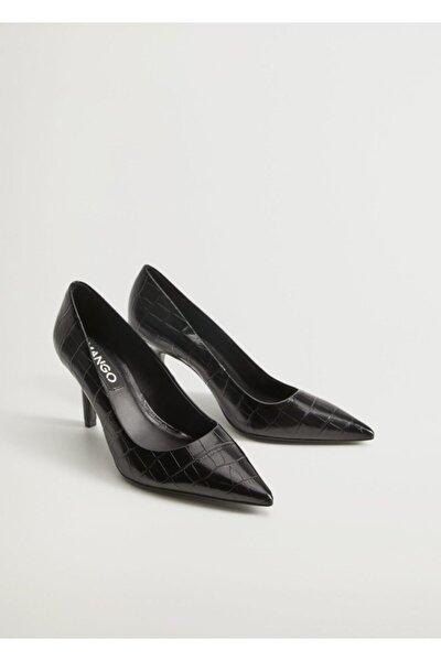 Timsah Derisi Görünümlü Topuklu Ayakkabı